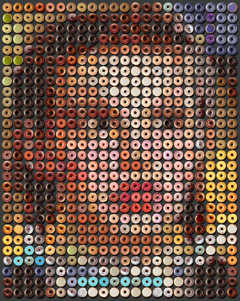 Photographic Arrangements Made Of Hundreds Of Images Of Donuts By Artist Candice Cmc The Portraits From Popular Culture Become Recognizable When Viewed