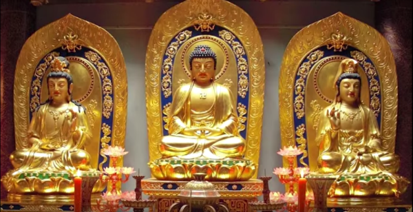 Three Golden Buddha Statues