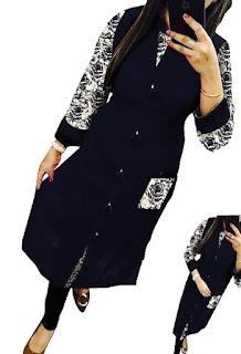 Black New Designer Selfie Cotton Kurti