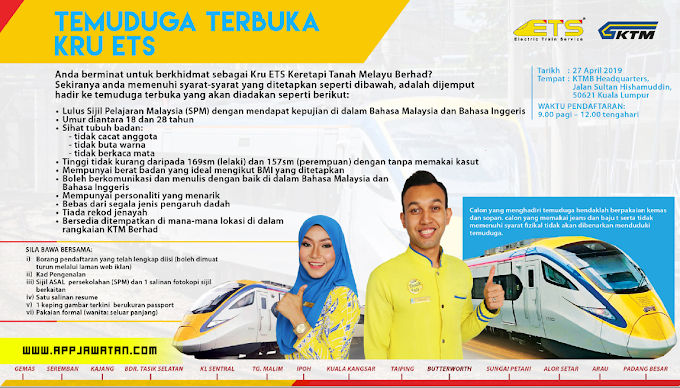 Temuduga Terbuka di Keretapi Tanah Melayu (KTMB)