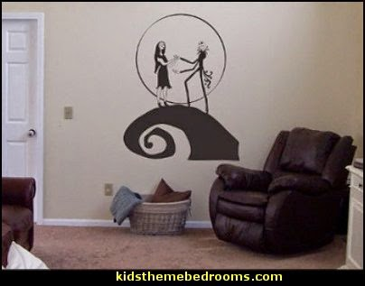 Nightmare Before Christmas Jack and Sally Vinyl Wall Decal Decor  Nightmare Before Christmas bedroom ideas - nightmare before christmas decor - jack skellington decor - Jack skellington Sally nightmare before Christmas rooms - Nightmare Before Christmas bedding - Halloween decorating - nightmare before christmas wall art - Sally Nightmare Before Christmas bedroom spooky decor