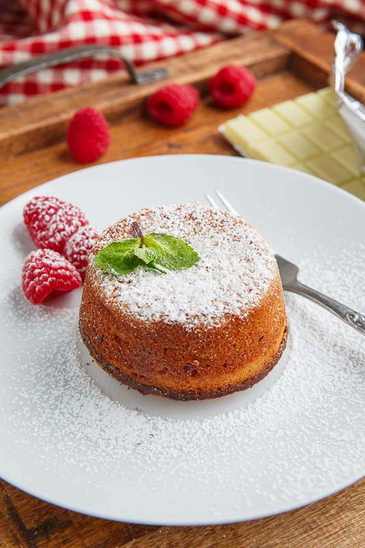 Raspberry White Chocolate Lava Cakes