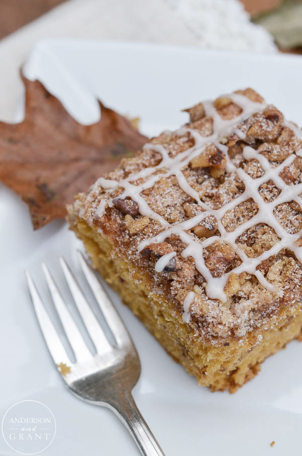 Square of Pumpkin Coffee Cake with Glaze