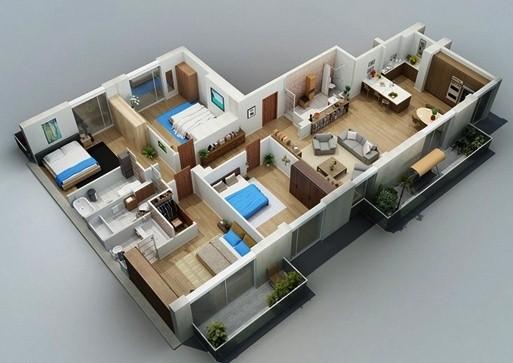 gambar denah rumah satu lantai tiga kamar 3
