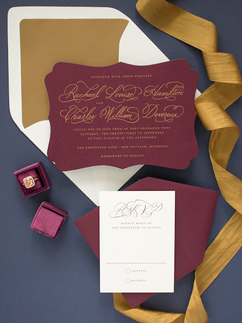 burgundy and navy fall wedding invitations