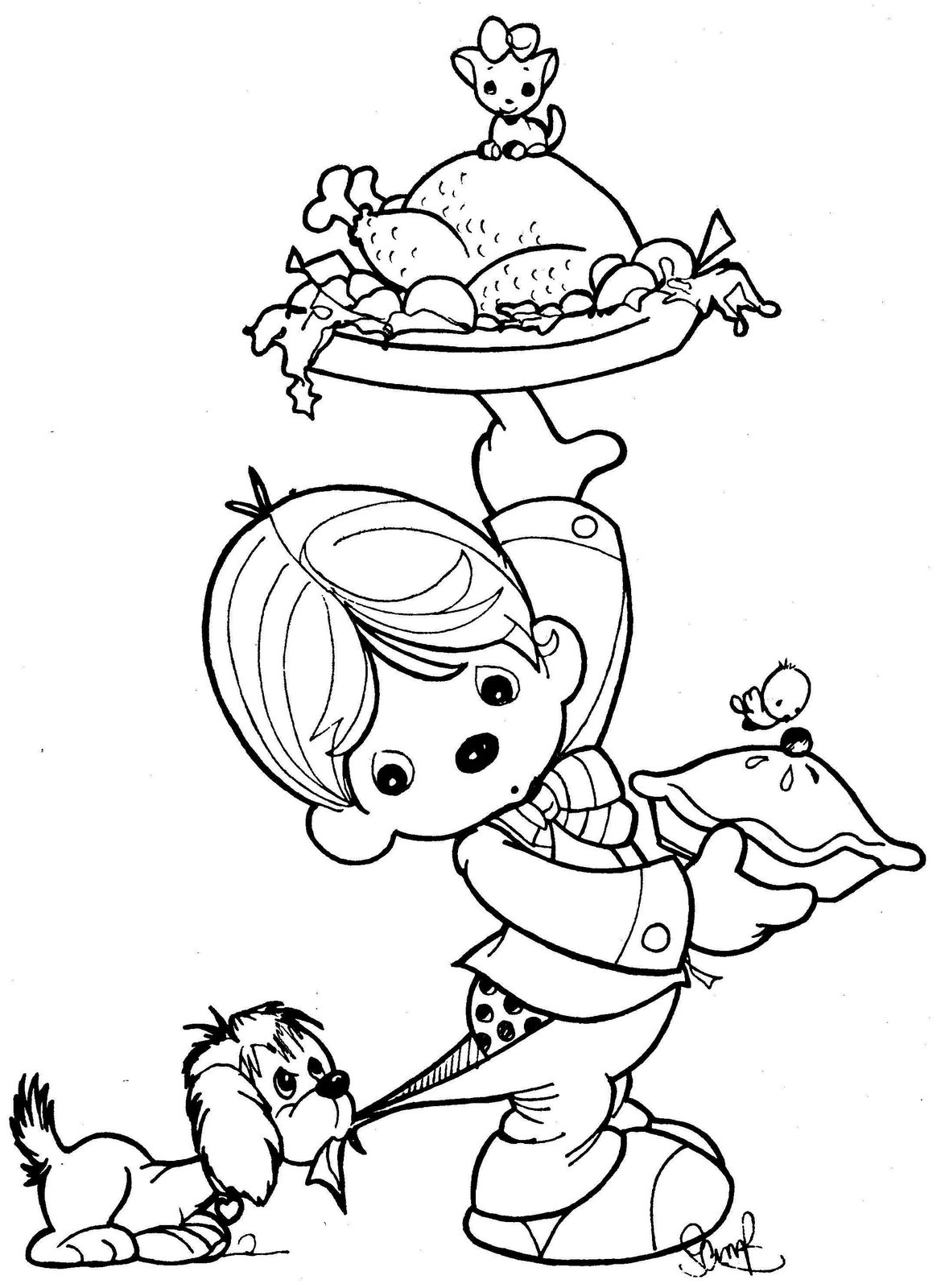 Precious Moments Drawings Waiter Coloring Child Coloring