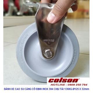 Bánh xe cao su 125x32mm càng inox 304 Colson không xoay | 2-5408-444 www.banhxedayhang.net