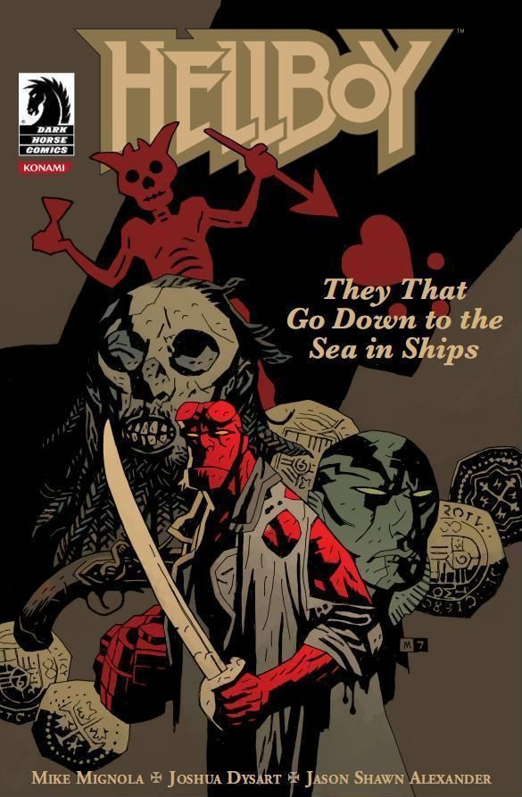 Hellboy in front of eerie figures including a red horned skeleton holding spear or arrow next to floating heart