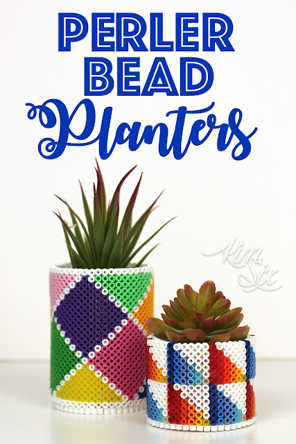 Three Dimensional Pearler Bead Planters.  So easy to make and the only limit is your creativity.  Would be a great kids craft for birthday parties or scout meetings.