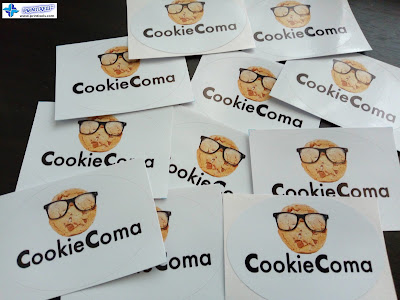 Oval Vinyl Sticker Labels - Cookie Coma