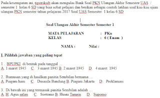 Soal-UKK-UAS-PKN-kelas-6-SD-Semester-1