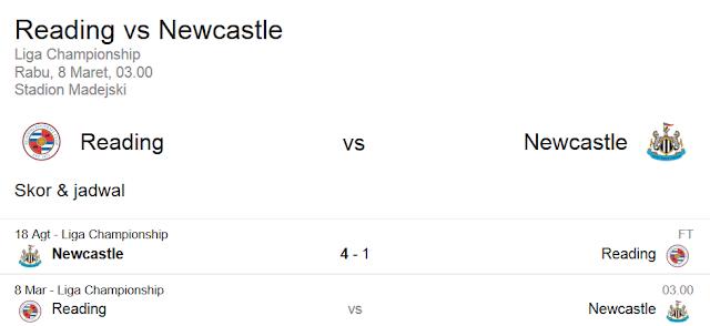 Prediksi Skor Reading FC vs Newcastle United | Polisibola.com