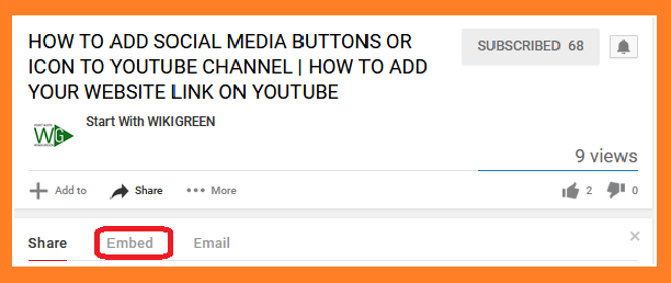 Embed button in youtube video