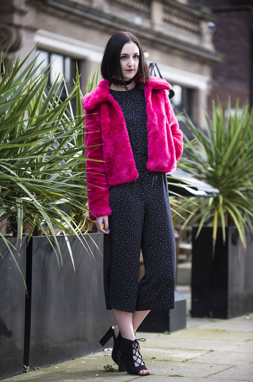 ASOS pink fur jacket