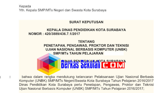 Contoh SK Proktor dan Teknisi UNBK 2018 SMP/MTs, SMA/MA dan SMK