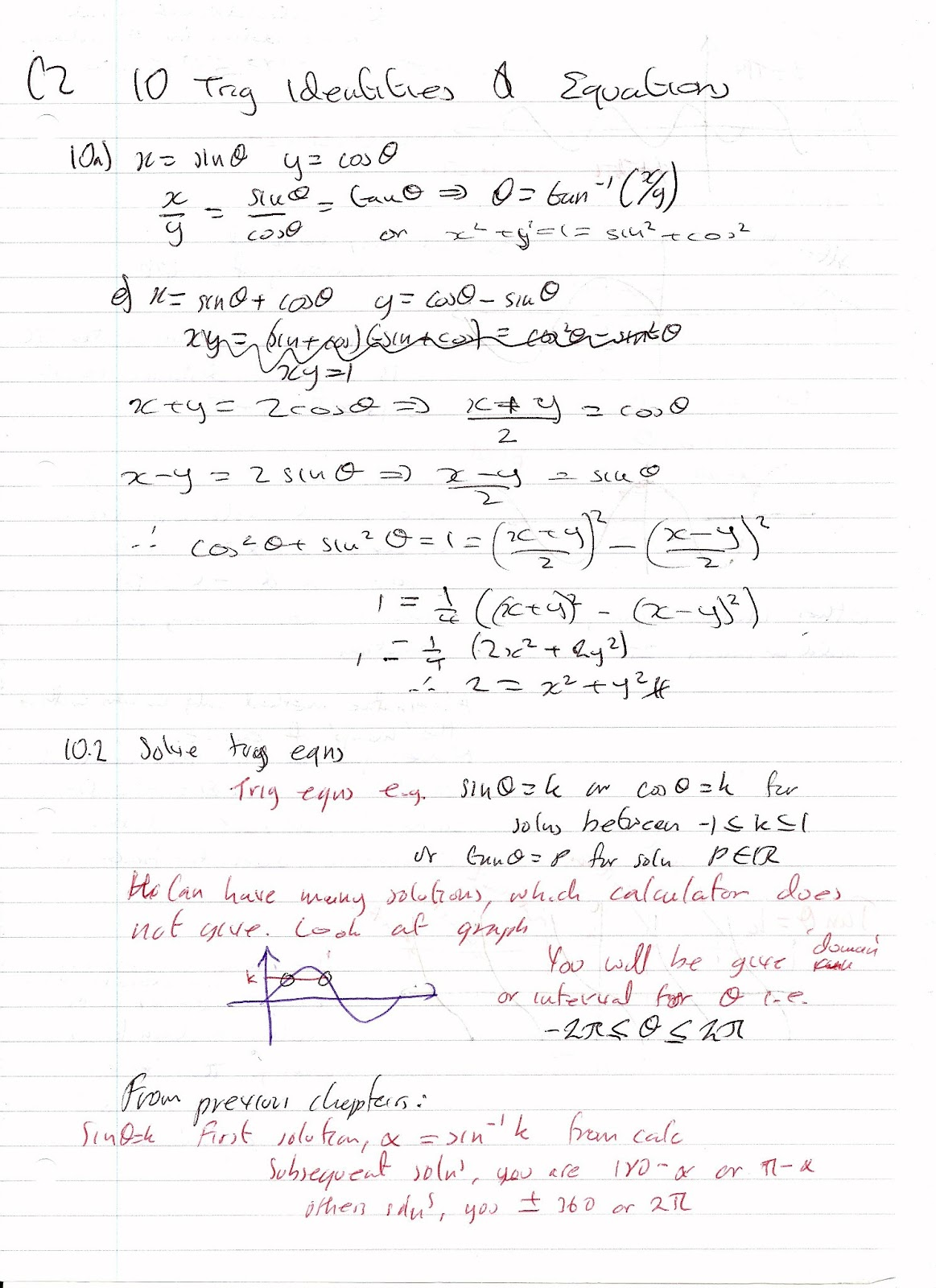 A Level Maths Notes Edexcel C2 10 Trigonometric Identities And Equations