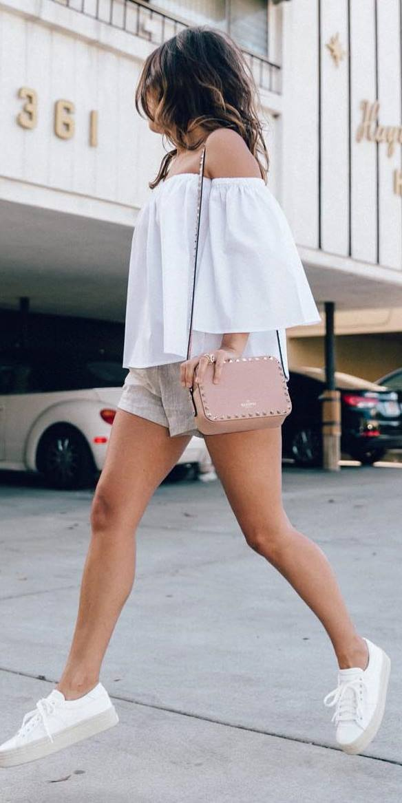 casual style addict: top + bag + shorts
