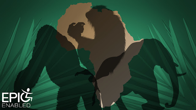 Gorilla silhouette, chimpanzee silhouette and elephant silhouette over a vector of Africaand a green background with leaves