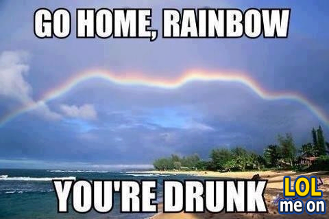 """funny fail picture shows a rainbow do a zigzag from """"LOL me on"""""""