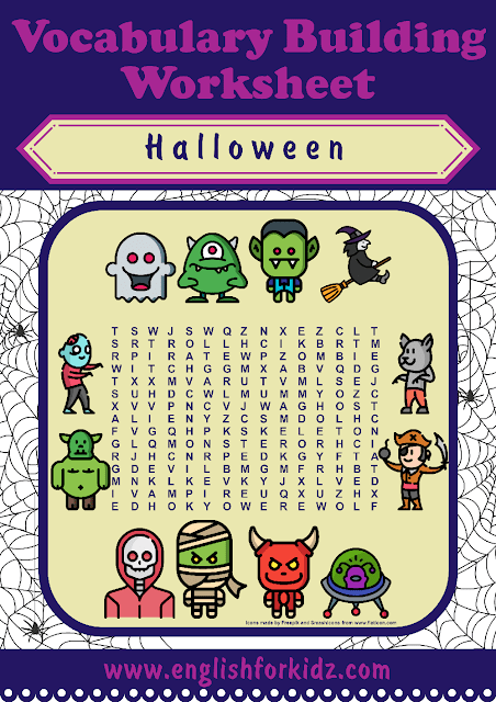Printable Halloween word search worksheet