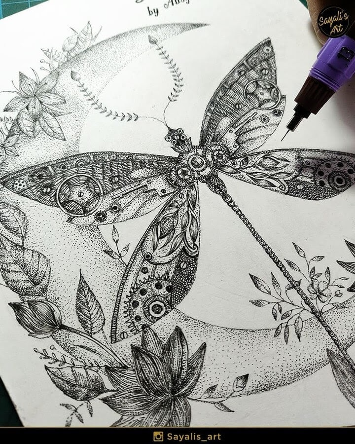 11-Dragonfly-Sayali-Horambe-Stippling-Fantasy-Art-Drawings-www-designstack-co