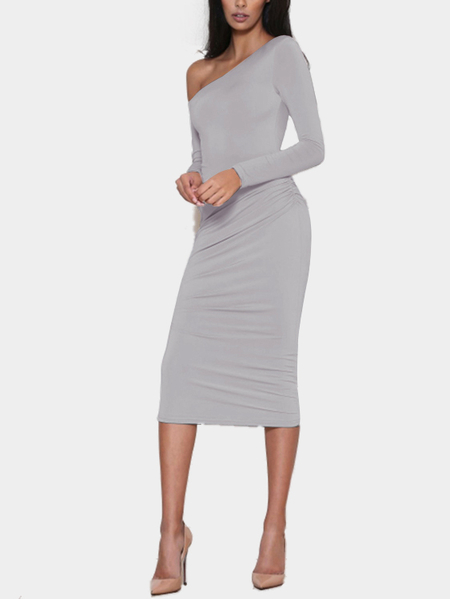 Gray Sexy One Shoulder Pleated Midi Bodycon Party Dress