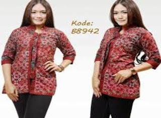 Model Baju Batik Modern Kerja Wanita Lengan Panjang