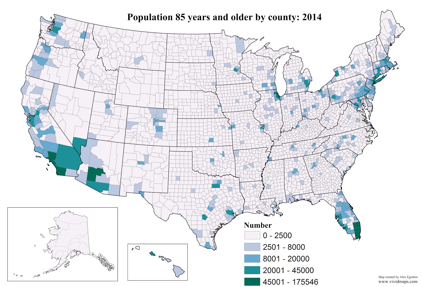 Population 85 years and older by county: 2014