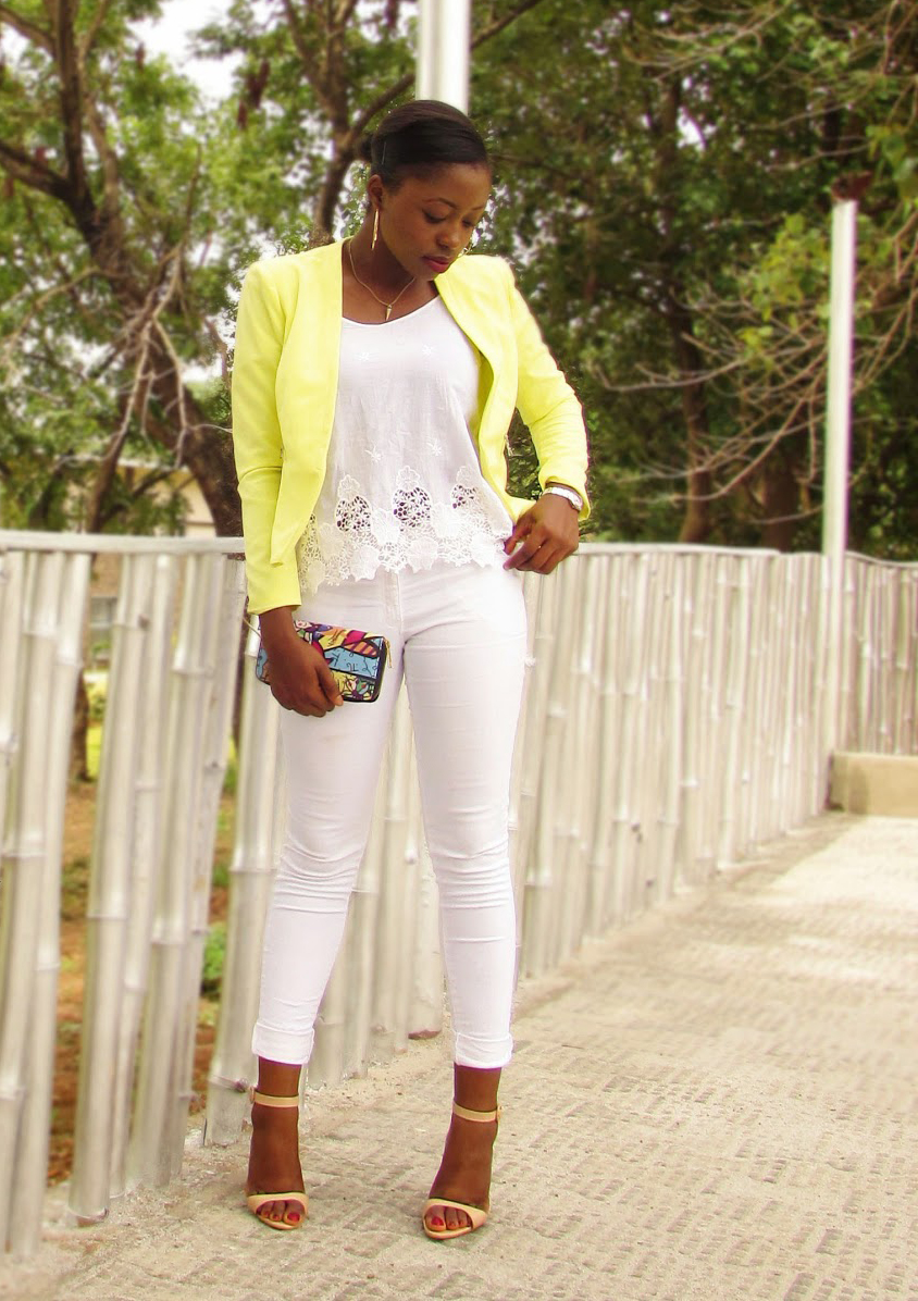 White denim, lace, yellow blazer, nude sandals