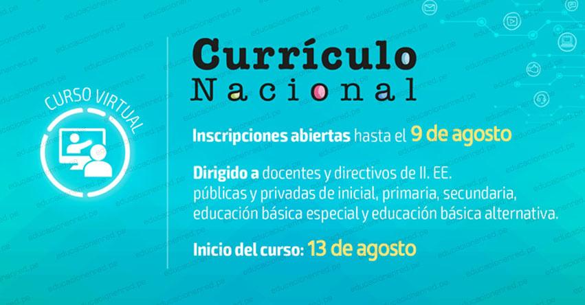 MINEDU: Curso virtual sobre Currículo Nacional - Cuarta Convocatoria 2019 para Directivos y Docentes de Secundaria [INSCRIPCIÓN] www.minedu.gob.pe