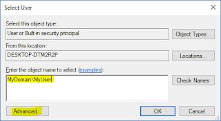 SQL Server Service - Select User tab