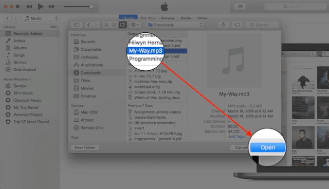 طريقة اضافة ملفات الصوت والفيديو الي ايتونز iTunes