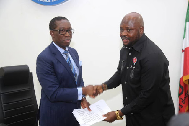 Delta Governor Ifeanyi Okowa with NUPENG President in Asaba