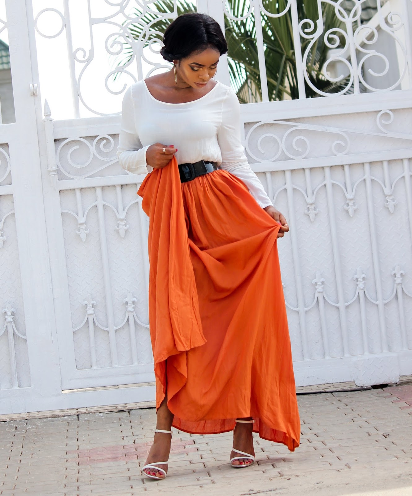 CRISS-CROSS BACK MAXI - Orange Spliced Back Criss-Cross Maxi Dress