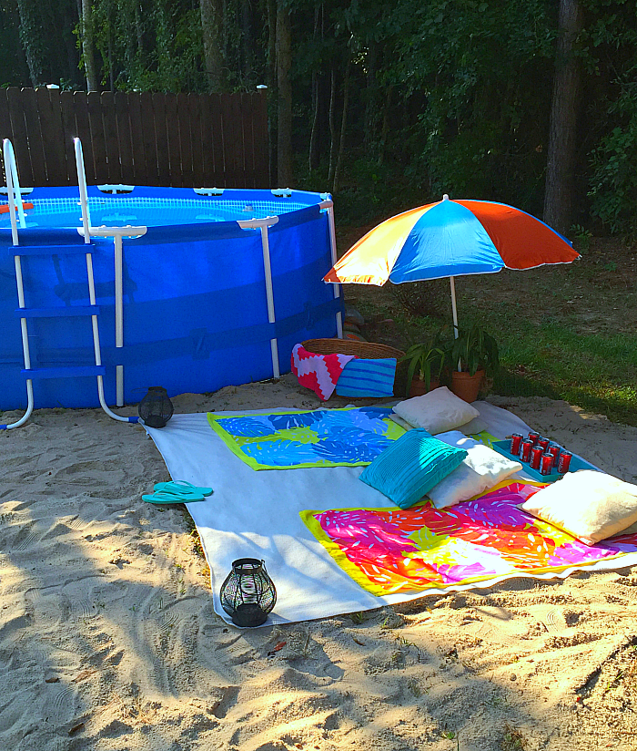Mini Backyard Beach Vacation With DIY Pool Noodle Floating