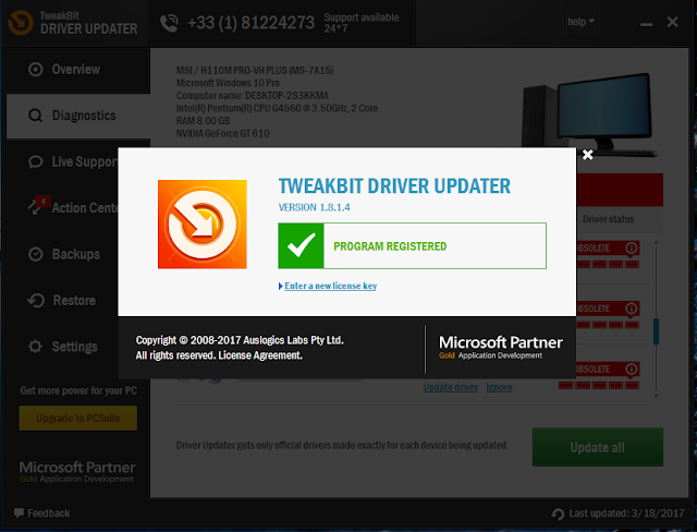 TweakBit Driver Updater License Key 2016
