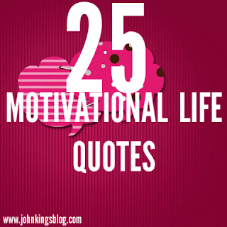 text of '25 motivational life quotes' written in white on a pink background
