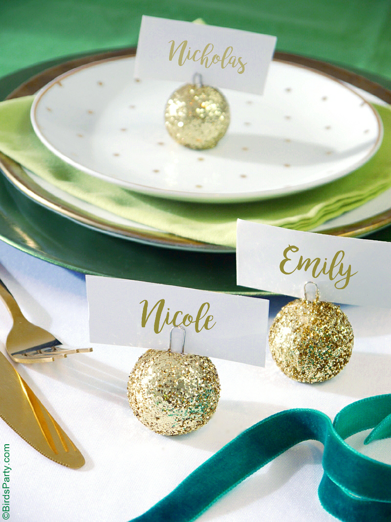 DIY Glitter Baubles Ornament Place-Card Holders - Party Ideas ...