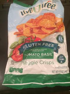 A bag of liveGfree Tomato Basil Veggie Crisps, from Aldi