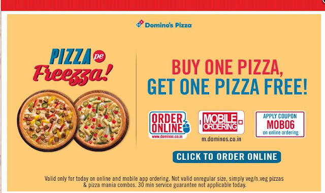 Paytm and Dominos's BOGO Loot with Regular Size