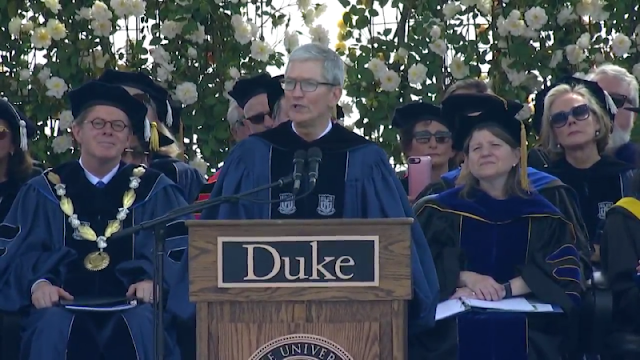 """Apple CEO Tim Cook Urges Duke Graduates To """"Think """"Different"""" During His Commencement Speech"""