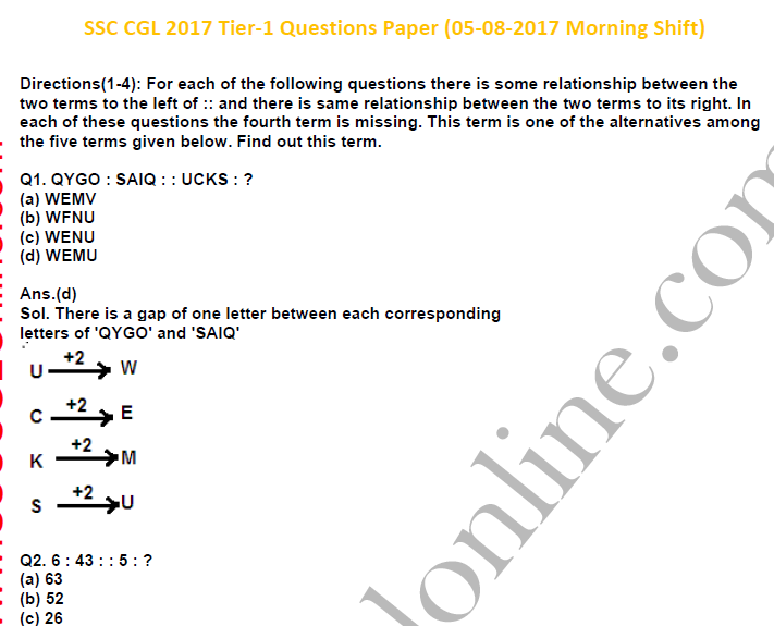 Ssc Cgl Tier 1 Question Paper Pdf