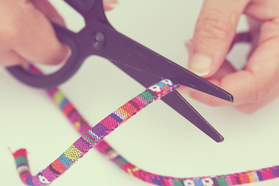 Tutorial cordón étnico para gafas Cortar