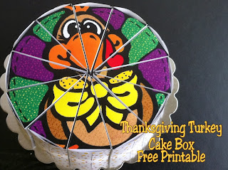 Thanksgiving Turkey Cake Box Free Printable by Kims Kandy Kreations