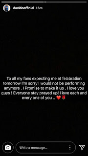 Davido cancels his Felabration performance to honor  death of his friends