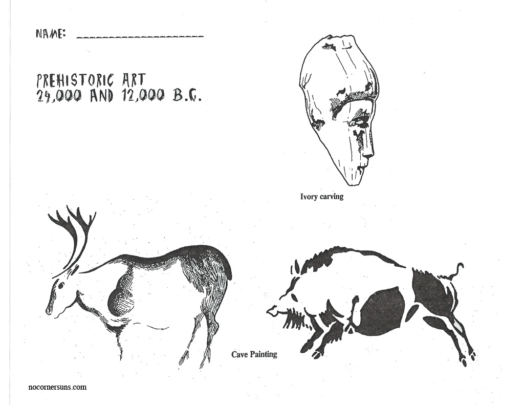 No Corner Suns: Prehistoric Art Coloring and Reference Page