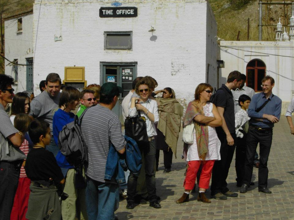 Tourists waiting for the Mini train at the entrance Time Office of Khewra Salt Mines, Pakistan t