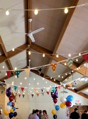 bistro lights, pennant flags