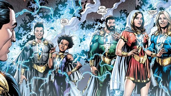 A família Shazam! fez sua primeira aparição nos quadrinho em 1941, como vocês sabem, Shazam era conhecido como Capitão-Marvel, consequentemente a família Shazam se chamava Família Marvel. A família teve diversas alterações ao longo dos anos, até a DC Comics lança seu reboot nos quadrinhos dos novos 52 onde muita coisa mudou, principalmente a forma de como funciona os poderes da Família, Basicamente, quando apenas um integrante estava transformado, ele utilizava 100% dos poderes, mas quando haviam dois integrantes transformados, os poderes se dividiam em 50% pra cada membro e assim por diante.