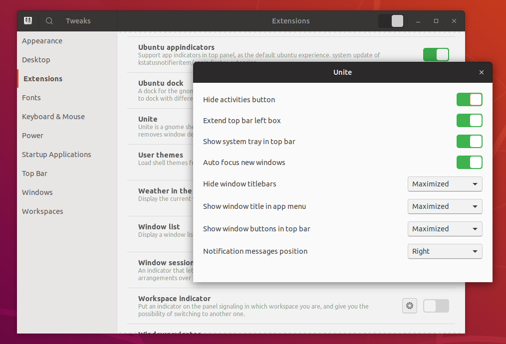Make Gnome Shell More Like Unity With Unite Extension - Linux